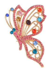 Rainbow Blue Red Color Pink Cartoon Butterfly Pin Brooch