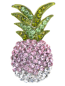 Ombre Tropical Pineapple Hawaiian Island Fruit Brooch Pin