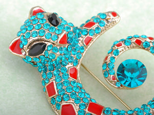 Turquoise Blue Red Enamel Cat Leopard Brooch Pin