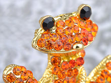 Load image into Gallery viewer, Fiery Orange Red Happy Smiling Frog Pin Brooch