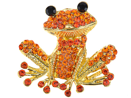 Alilang Fiery Orange Red Happy Crystal Rhinestones Golden Tone Smiling Frog Pin Brooch