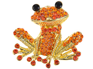 Fiery Orange Red Happy Smiling Frog Pin Brooch