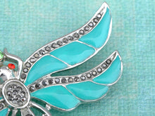 Load image into Gallery viewer, Aqua Enamel Paint Blue Egyptian Dragonfly Pin Brooch