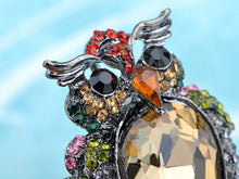 Load image into Gallery viewer, Nickel Multicolored Owl Bird Feathers Brooch Pin
