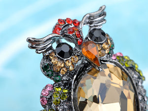 Nickel Multicolored Owl Bird Feathers Brooch Pin