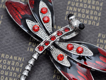 Load image into Gallery viewer, Ruby Red Enamel Gothic Dragonfly Bug Brooch Pin