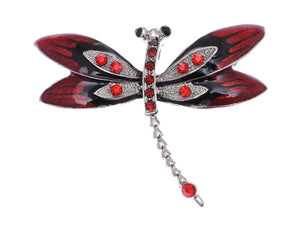 Ruby Red Enamel Gothic Dragonfly Bug Brooch Pin