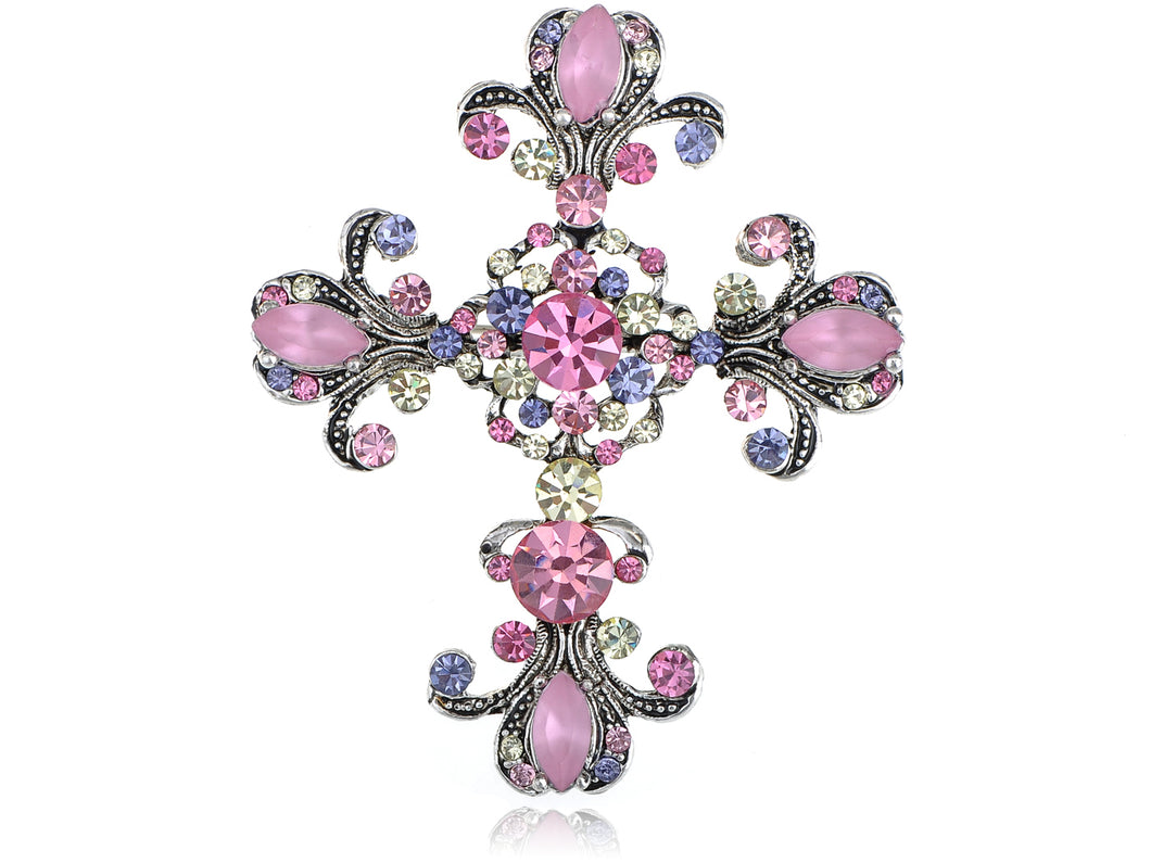 Antique Shine Pink Purple Pastel Holy Cross Brooch Pin