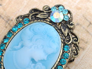 Antique Light Blue Cameo Woman Brooch Pin