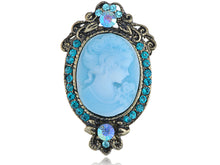 Load image into Gallery viewer, Antique Light Blue Cameo Woman Brooch Pin