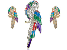 Load image into Gallery viewer, Colorful Parrot Bird Brooch Pin Stud Earrings Set