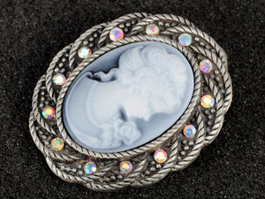 Antique Silver Vintage Braided Rope Cameo Frame Brooch Pin