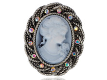 Load image into Gallery viewer, Antique Silver Vintage Braided Rope Cameo Frame Brooch Pin