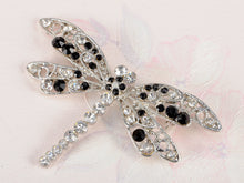 Load image into Gallery viewer, Jet Black Dragonfly Insect Wings Brooch Pin