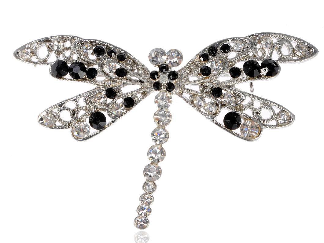 Jet Black Dragonfly Insect Wings Brooch Pin