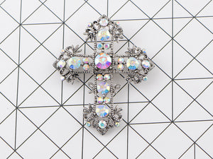 Antique Multi Colorful Holy Cross Brooch Pin