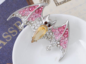 Silver Halloween Ombre Pink Vampire Bat Wing Animal Brooch Pin