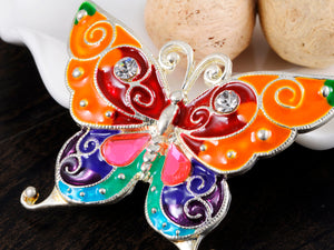 Bright Enamel Handpainted Wing Bold Butterfly Bug Pin Brooch