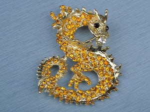 Antique Topaz Chinese Dragon Brooch Pin