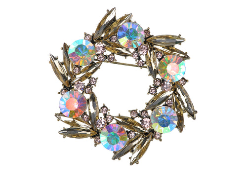 Alilang Shiny Cute Golden Tone Colorful Crystal Rhinestone Bird Nest Design Pin Brooch