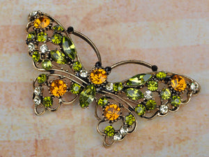 Peridot Long Winged Butterfly Bug Pin Brooch
