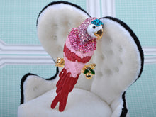 Load image into Gallery viewer, Pink Colorful Painted Tropical Parrot Bird Design Pin Brooch