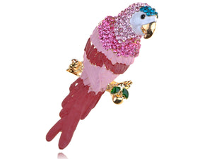 Pink Colorful Painted Tropical Parrot Bird Design Pin Brooch