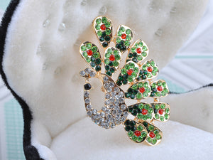 Dancing Peacock Feather Bird Pin Brooch Jewelry