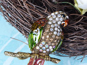 Tropical Pirate Parrot Bird Moveable Tail Feather Convertible To Pendant Brooch Pin