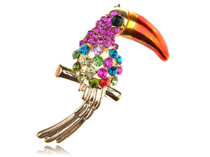 Fuchsia Colorful Ropical Bird Pin Brooch