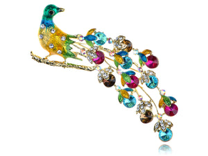 Soft Multicolored Colorful Peacock Bird Feather Brooch Pin