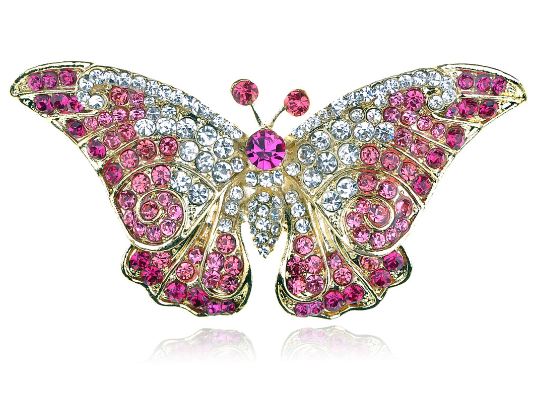 Pink Butterfly Insect Brooch Pin