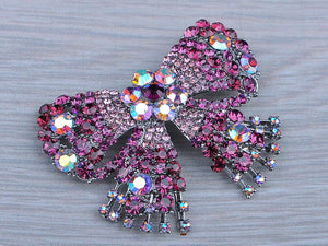 Shine Fuchsia Rose Pink Bow Brooch Pin