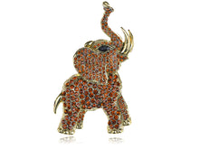 Load image into Gallery viewer, Brown Animal Elephant Trunk Brooch Pin