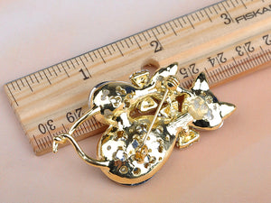 Light Smoked Topaz Kitty Cat Animal Brooch Pin