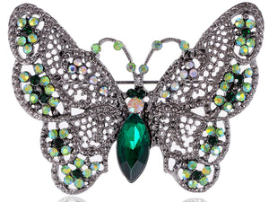 Antique Green Butterfly Insect Brooch Pin