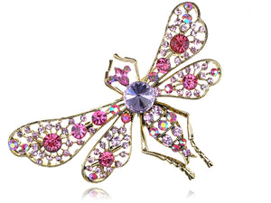 Gilded Filigree Light Pink Purple Dragonfly Insect Brooch Pin