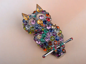 Dark Multicolored Colorful Cat Ears Owl Bird Brooch Pin