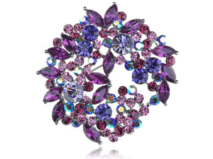 Violet Lavender Purple Floral Wreath Brooch Pin