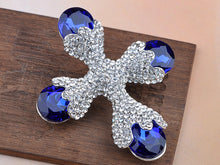 Load image into Gallery viewer, Beautiful Capri Blue Cross Shape Pin Brooch