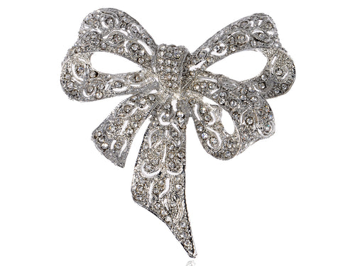 Alilang Brooch Pin Bow Ribbon Silvery Tone Clear Crystal Colored Rhinestones
