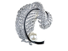 Load image into Gallery viewer, Colored Pearl Feather Brooch Pin