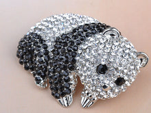 Load image into Gallery viewer, Black White Panda Bear Cub Animal Convertible To Pendant Brooch Pin