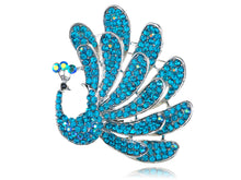 Load image into Gallery viewer, Beautiful Stunning Blue Feathered Peacock Bird Pin Brooch