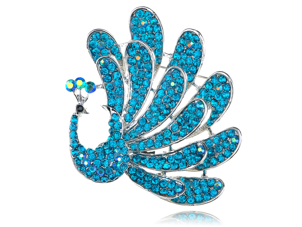 Beautiful Stunning Blue Feathered Peacock Bird Pin Brooch