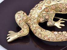 Load image into Gallery viewer, Light Topaz Colored Long Tail Lizard Gecko Brooch Pin