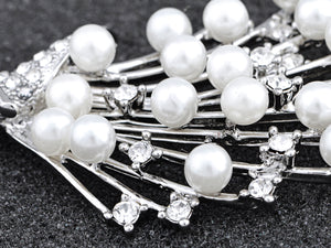 Intricate White Pearl Bouquet Pin Brooch
