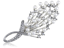 Load image into Gallery viewer, Intricate White Pearl Bouquet Pin Brooch