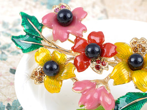 Elements Colorful Spring Leaf Flower Branch Pin Brooch