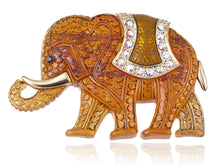 Load image into Gallery viewer, Matte Orange Iridescent African Elephant Brooch Pin